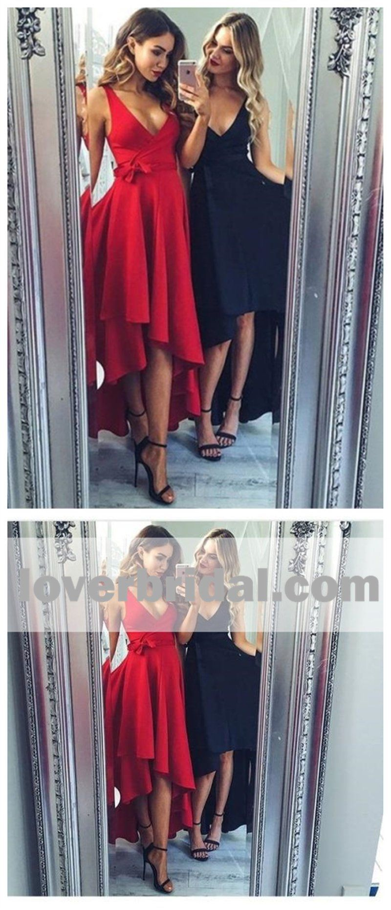 High low v neck simple cheap short red homecoming dresses online