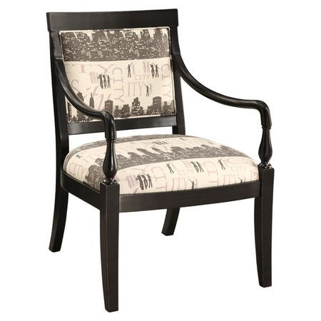 """Wood-framed accent chair in ebony with sweeping arms and urban-inspired upholstery.      Product: Chair    Construction Material: Wood    Color: Ebony   Features:  Cityscape-scripted upholstery on a square seat back    Chic elegant style    Will enhance any décor  Dimensions: 36.5"""" H x 26"""" W x 29.25"""" D"""