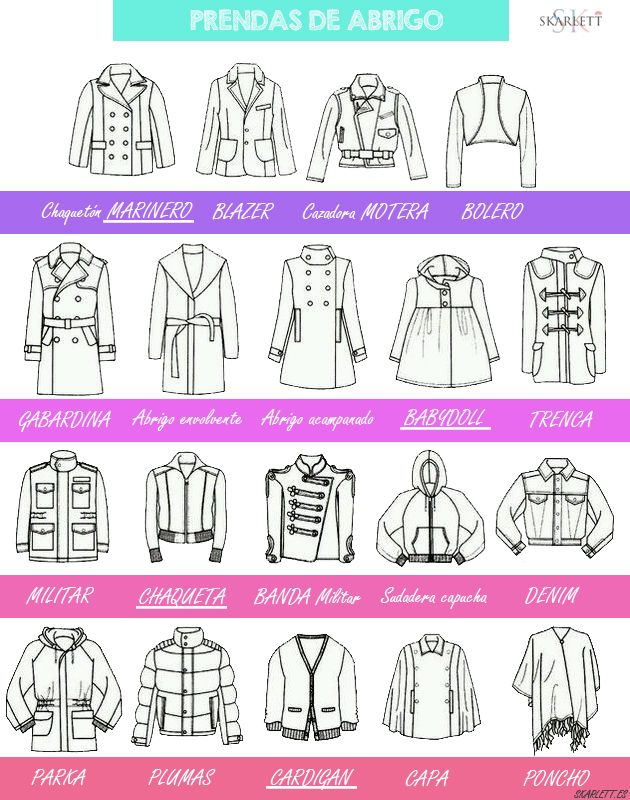 Nombres de tipos de abrigos
