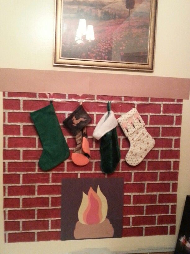 Fake Brick Plastic Decor From Dollar Tree Fire And Mantel Made Construction Paper Command Hooks Poked Through The To Hold