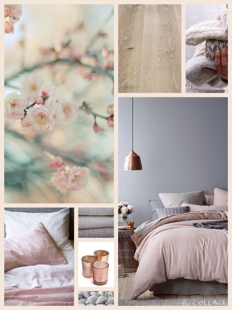 Moodboard Bedroom Grey Blush Copper Inspiration Farger Pinterest Bedrooms Gray And