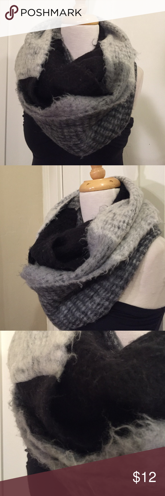 Steve madden black gray fuzzy felt infinity scarf This is a cozy black and gray almost felt like Infinity scarf by Steve Madden . Super cozy and soft good condition minor pilling, see pictures for details. Be sure and check out other listed items and bundle to save. Steve Madden Accessories Scarves & Wraps