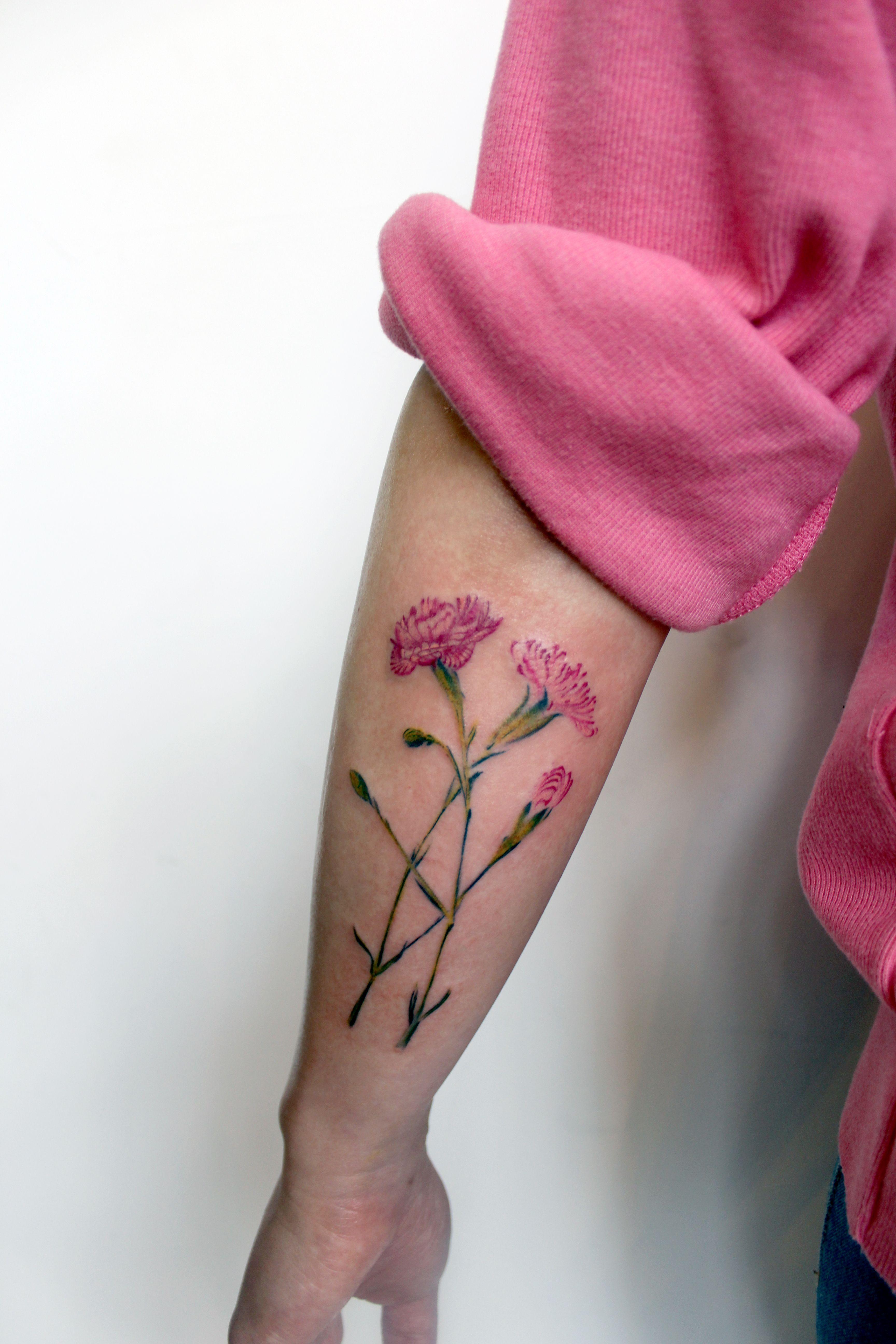 Carnation Carnation Tattoo Flower Flower Tattoo Floral Floral Tattoo Pink Pink Flower Pink Tattoo Color Color Wo Carnation Tattoo Pink Tattoo Tattoos