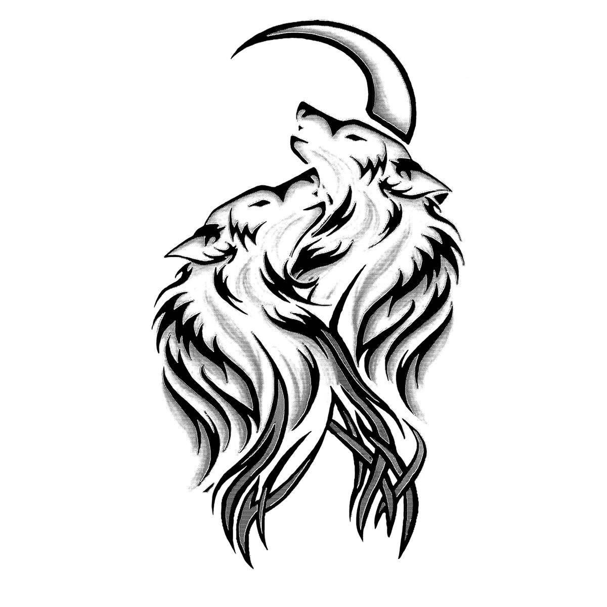 Wolf Moon Tattoo Illustration Wolves Png Transparent Clipart Image And Psd File For Free Download Wolf And Moon Tattoo Tribal Wolf Tattoo Wolf Tattoo Design