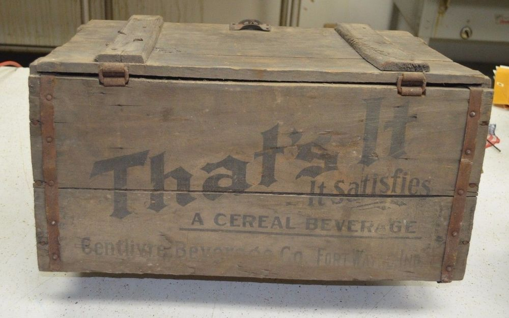 Rare Antique The Centlivr Beer Wooden Crate Fort Wayne Indian Prohibition Era Wooden Crate Rare Antique Crates