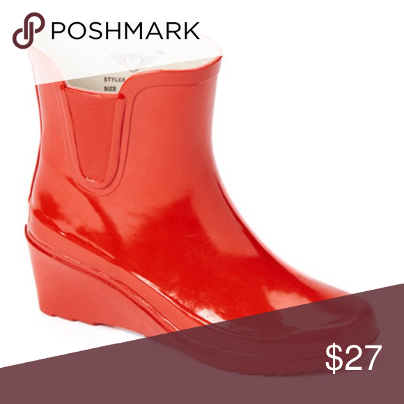 051f6c0f971 Women Ankle Wedge Rainboots, #5102, Red Brand new glossy ladies ...