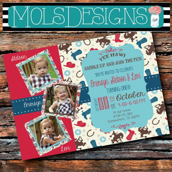 Any Color TRIPLET COWBOY BIRTHDAY Boots Horseshoe Horse Rodeo Teal Red Turquoise Bandana Cow Print Buckaroo 1st 2nd Baby Shower Invitation