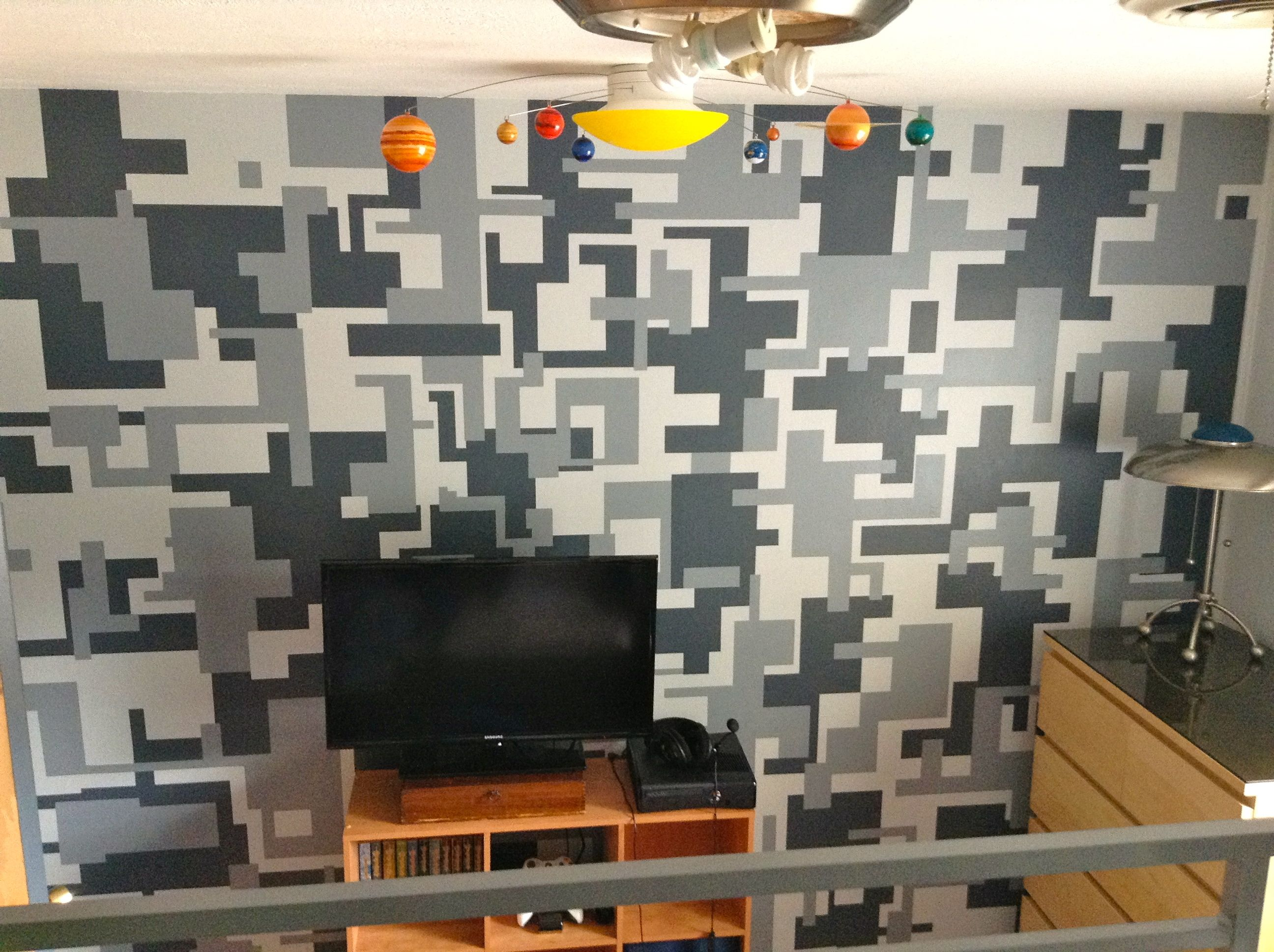 Digital camo wall but smaller and diff colors on one for Boys room accent wall