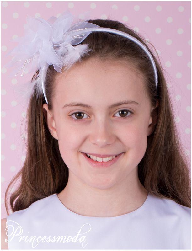 Nr.78 Festlicher Haarreifen in Weiß! Traumhaft schön! - Princessmoda - Alles für Taufe Kommunion und festliche Anlässe