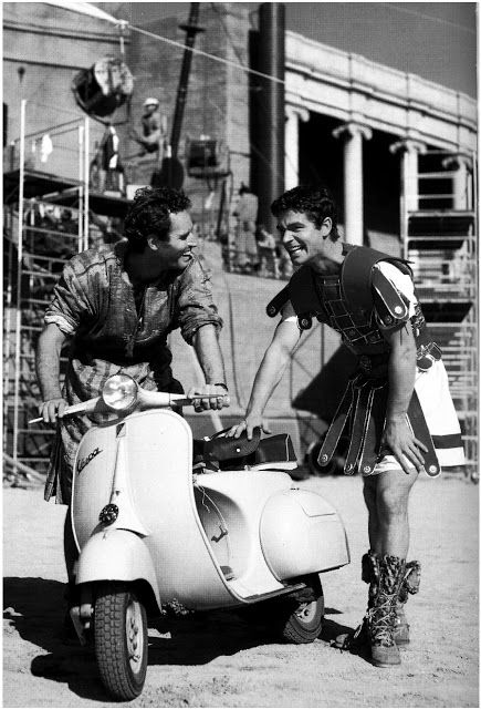 Charlton Heston Riding a Scooter During Filming of Ben Hur, 1959 via vintage everyday #benhur1959