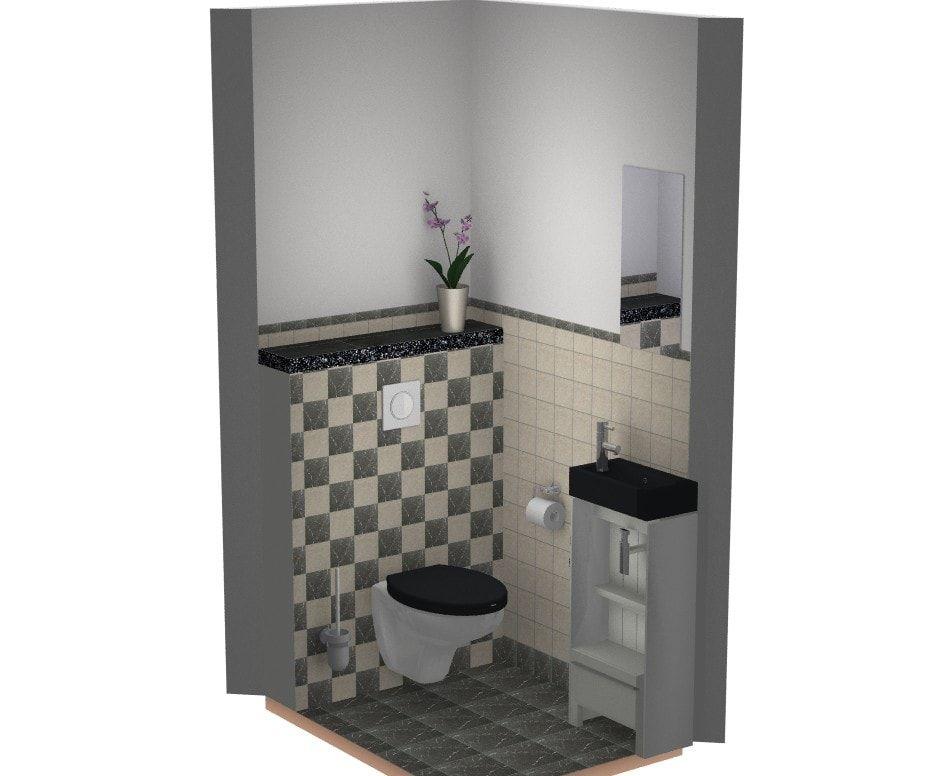Toilet idee met marmer tegels beige zwart toilet inspiratie