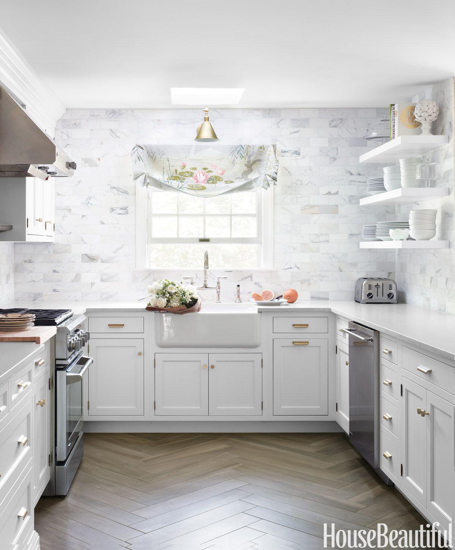 50 Impossibly Chic Kitchen Backsplashes  Classic White Gold Entrancing Kitchen Backsplash Tile Designs Pictures Inspiration Design