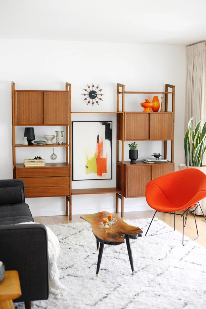 Den Reveal Suburban Pop Mid Century Living Room Family Danish Modern Wall Unit Board Mid Century Living Room Mid Century Modern Living Room Modern Wall Units