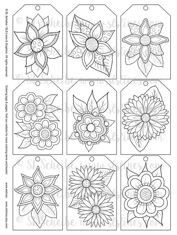 Printable PDF Gift Tag Coloring with retro pop flower design, instant download gift tags adult coloring hippie style 60s florals #retropop