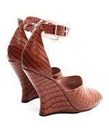 DRIES VAN NOTEN | Crocodile Embossed Leather Wedges