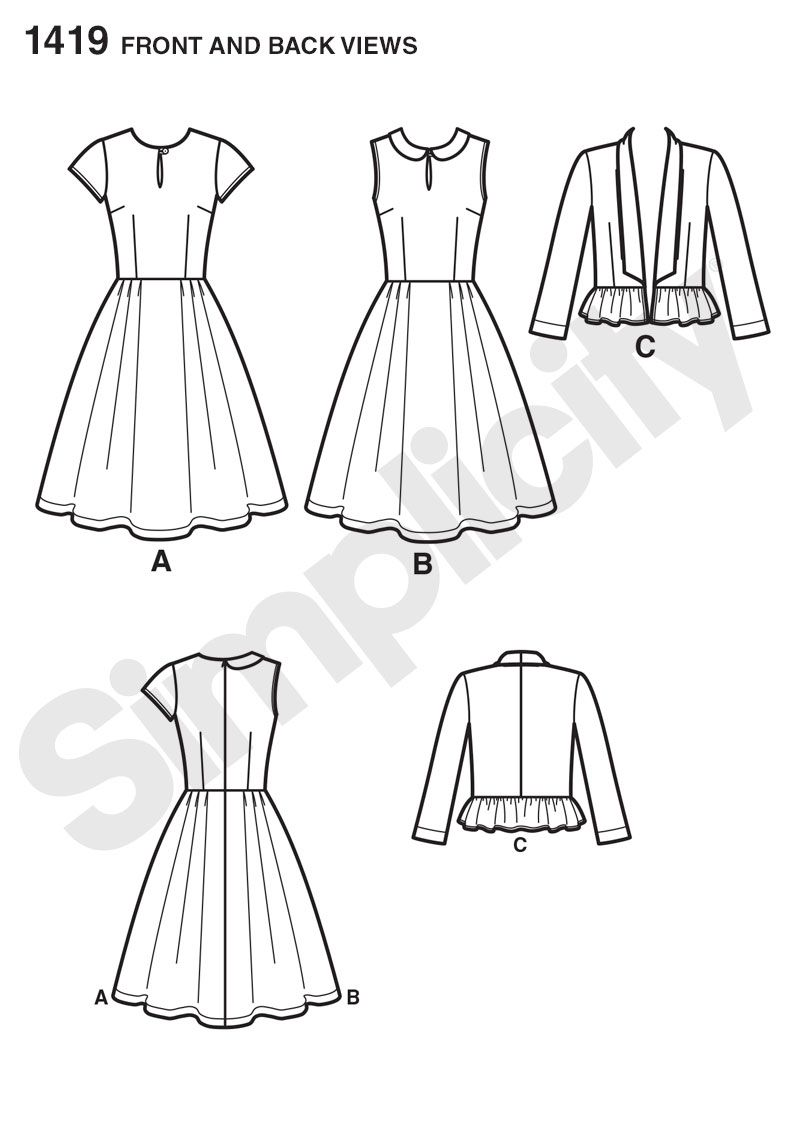 Simplicity 1419 -    Lisette Sew Your Style Pattern. Misses' dresses have full pleated skirt and can be made short sleeve with keyhole front or sleeveless with Peter Pan collar and keyhole front. Pattern also include gathered peplum jacket.