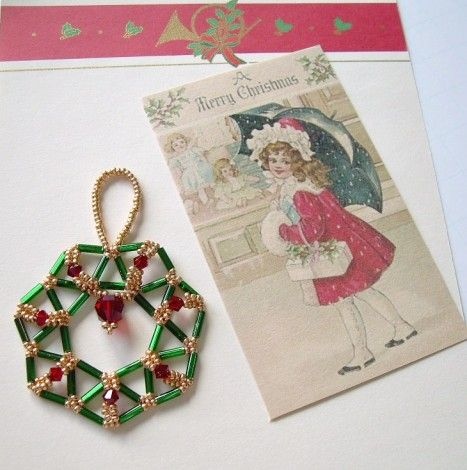 Free Beaded Christmas Ornament Patterns including a flat bugle bead