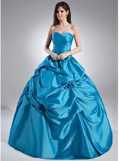Quinceanera Dresses - $213.99 - Ball-Gown Sweetheart Floor-Length Taffeta Quinceanera Dress With Ruffle Beading Flower(s)  http://www.dressfirst.com/Ball-Gown-Sweetheart-Floor-Length-Taffeta-Quinceanera-Dress-With-Ruffle-Beading-Flower-S-021015948-g15948