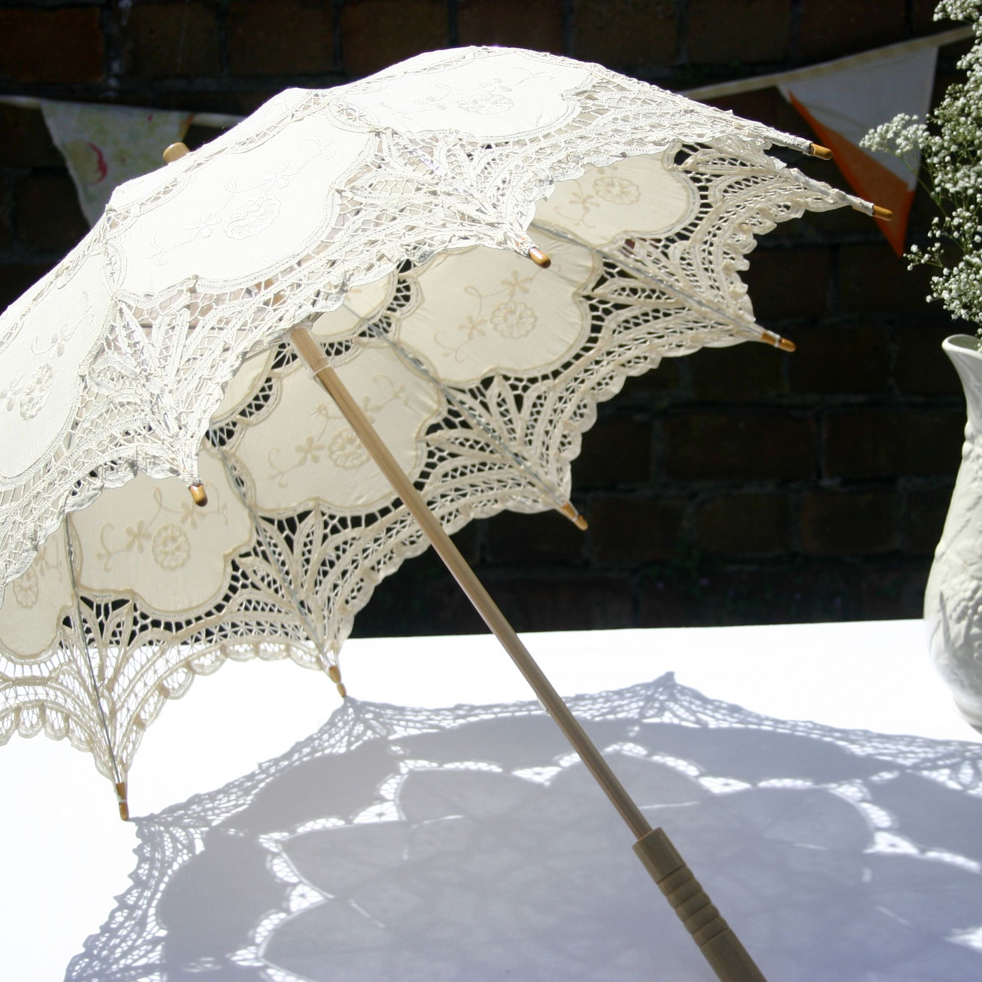 Vintage Style Ivory Wedding Parasol By The Brolly