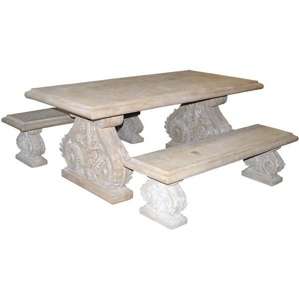 Outdoor Garden Table Benches Cast Stone W Fiber Greco Roman Style Ships Free Rt Table And Bench Set Garden Table Outdoor Garden Furniture