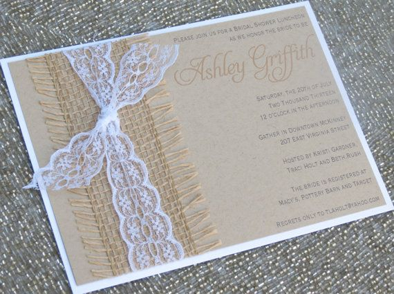 Wonderful BECKY: Kraft And Lace Wedding Invitation, Unique Burlap Ivory Shower  Invitation, Country Rustic Wedding Invitation | Wedding, Shower Invitations  And Lace ...