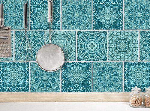 Fliesenaufkleber für bad deko u küche mandala petrol mint fliesensticker grün mosaikfliesen
