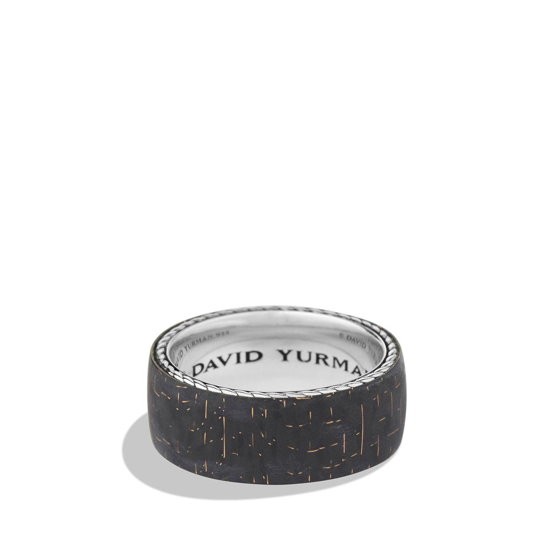Band Ring With Bronze Lightning Strike Carbon Fiber