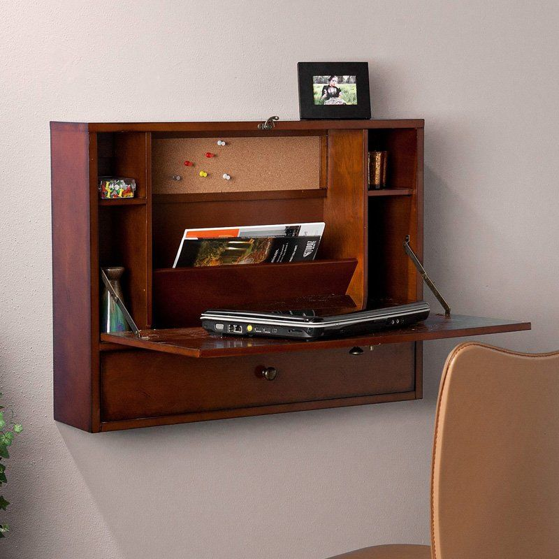 I love the functionality and appeal of this stained mahogany organizer! Wall-Mount Laptop Desk - Brown Mahogany $149.99 @hayneedle #office