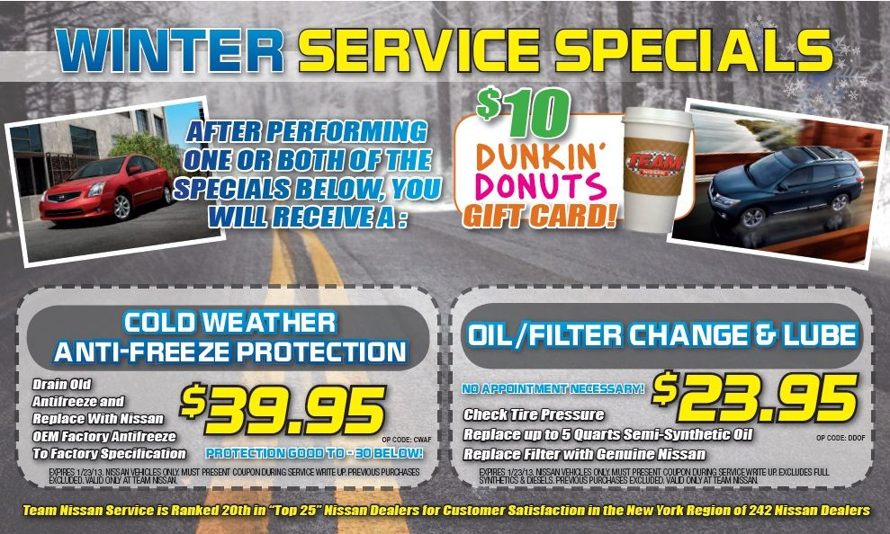 #Winter Service Specials At Team! TeamNissanNH.com   #service #specials  #sale #newhampshire #manchester #nh #newengland #nissan #cars