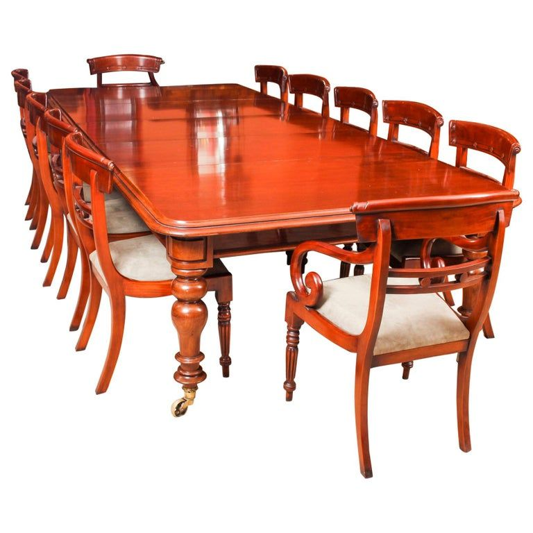 Antique William Iv Mahogany Dining Table And 12 Bar Back Dining Chairs Dining Table Mahogany Dining Table Dining Chairs