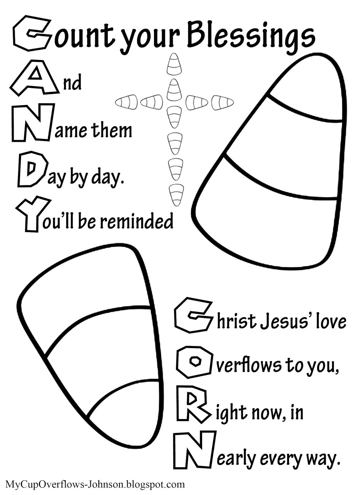 Candy Corn Sunday school activities, Sunday school