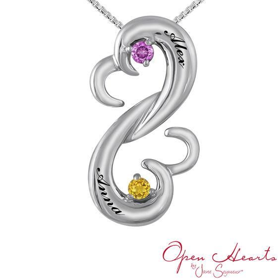 Zales Open Hearts Family by Jane Seymour Couples Birthstone Bypass Pendant (2 Stones and Names) KiFCx2okk