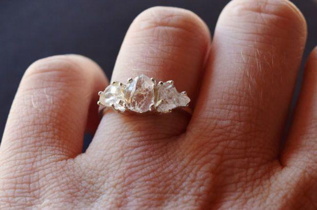 3 Stone Raw Diamond Handmade Engagement Ring Rough Natural And Uncut Wedding Band Gemstone