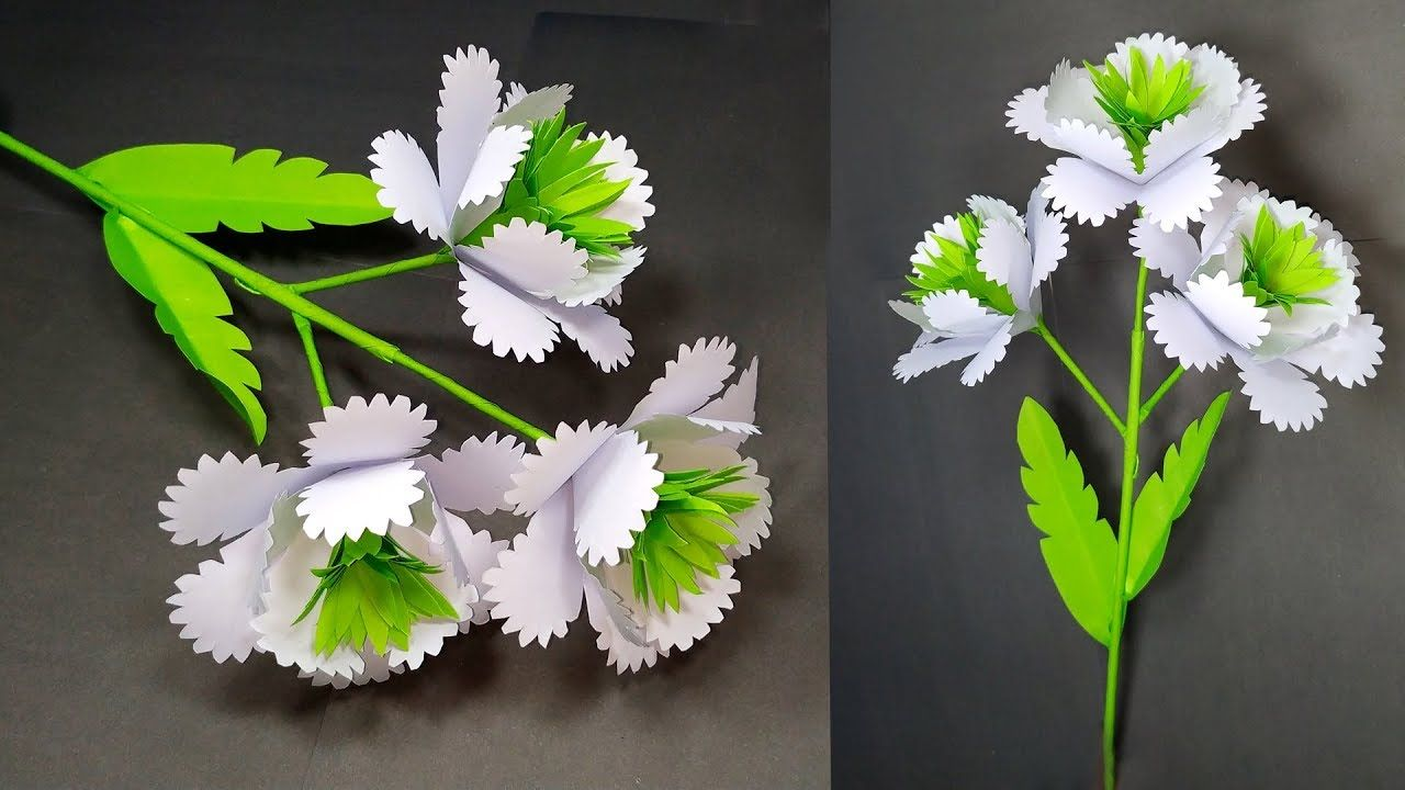 How To Make Very Beautiful Creative White Paper Stick Flower Stick