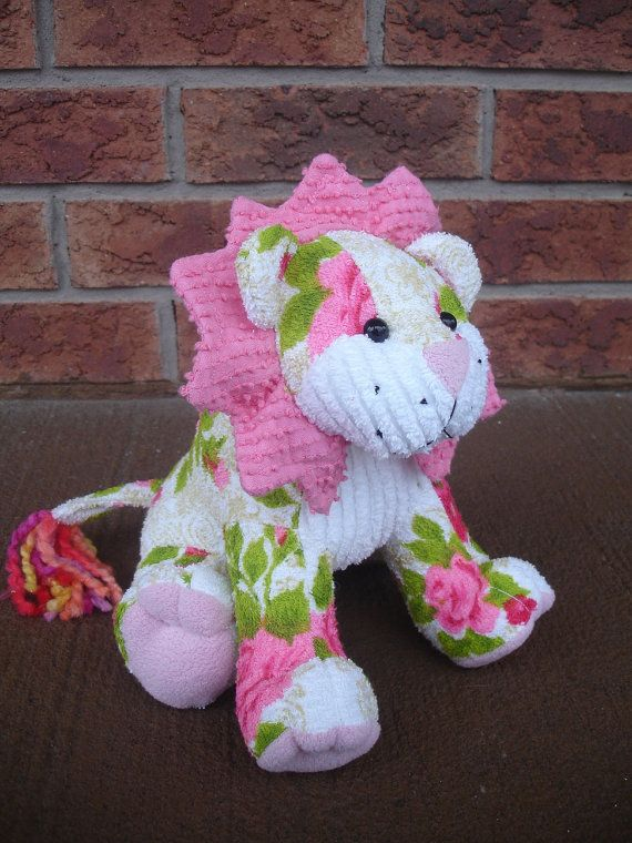 Delta Children Toy Box White: Stuffed Lion Plush Floral Pink Terry 100 Cotton By