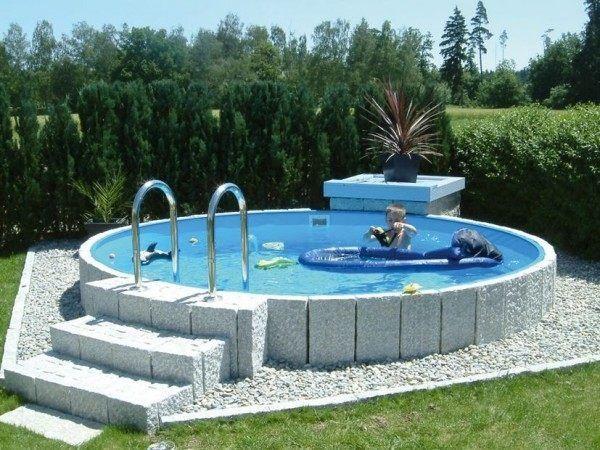 Rundbecken FUN von Future Pool mit eloxiertem Aluhandlauf, Folie blau #poolimgartenideen