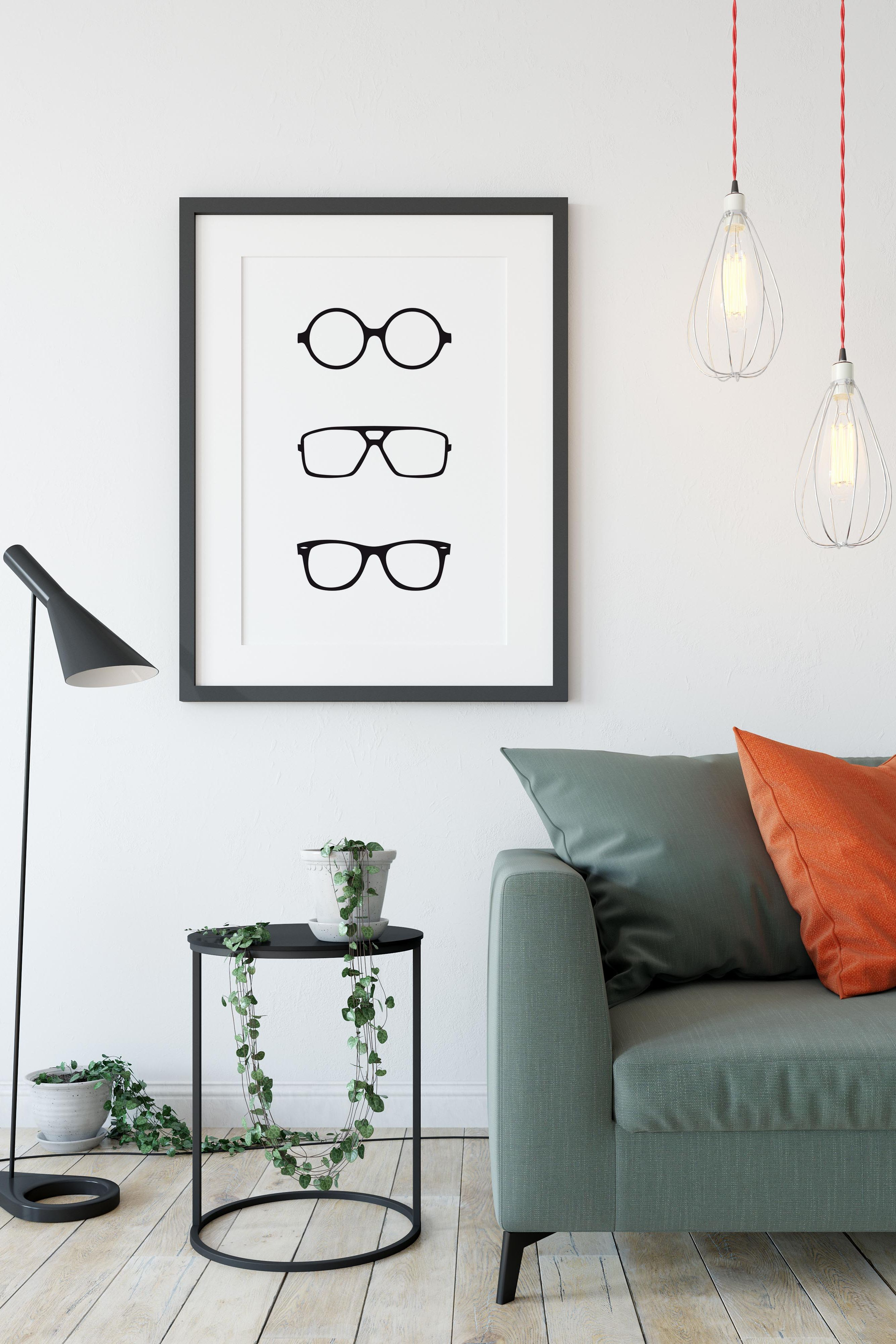 Hipster Glasses Printable Printable Art Digital Print Instant