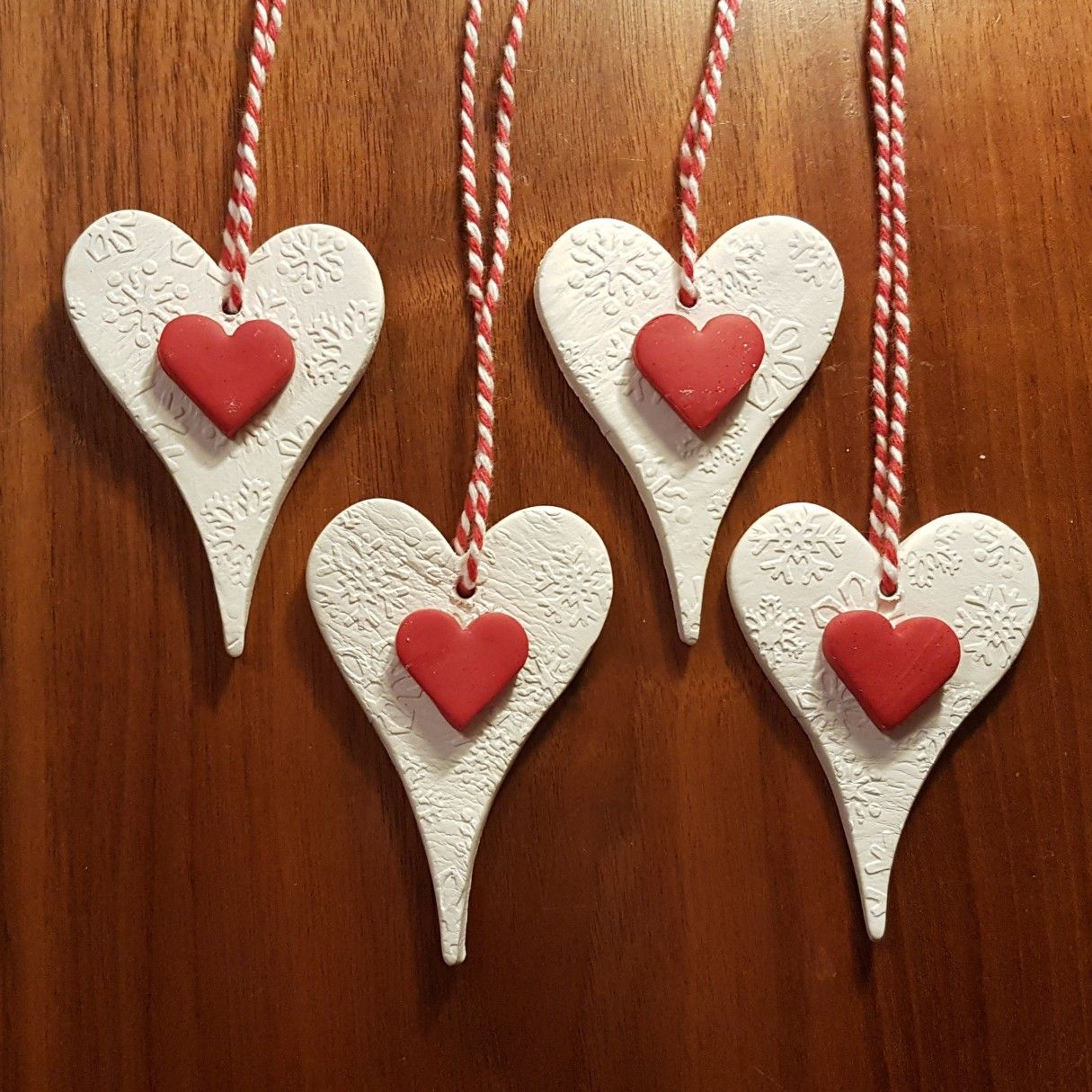 Red White Heart Shapred Air Dry Clay Diy Xmas Gift Tags Clay Christmas Decorations Clay Gift Tags Clay Crafts Air Dry