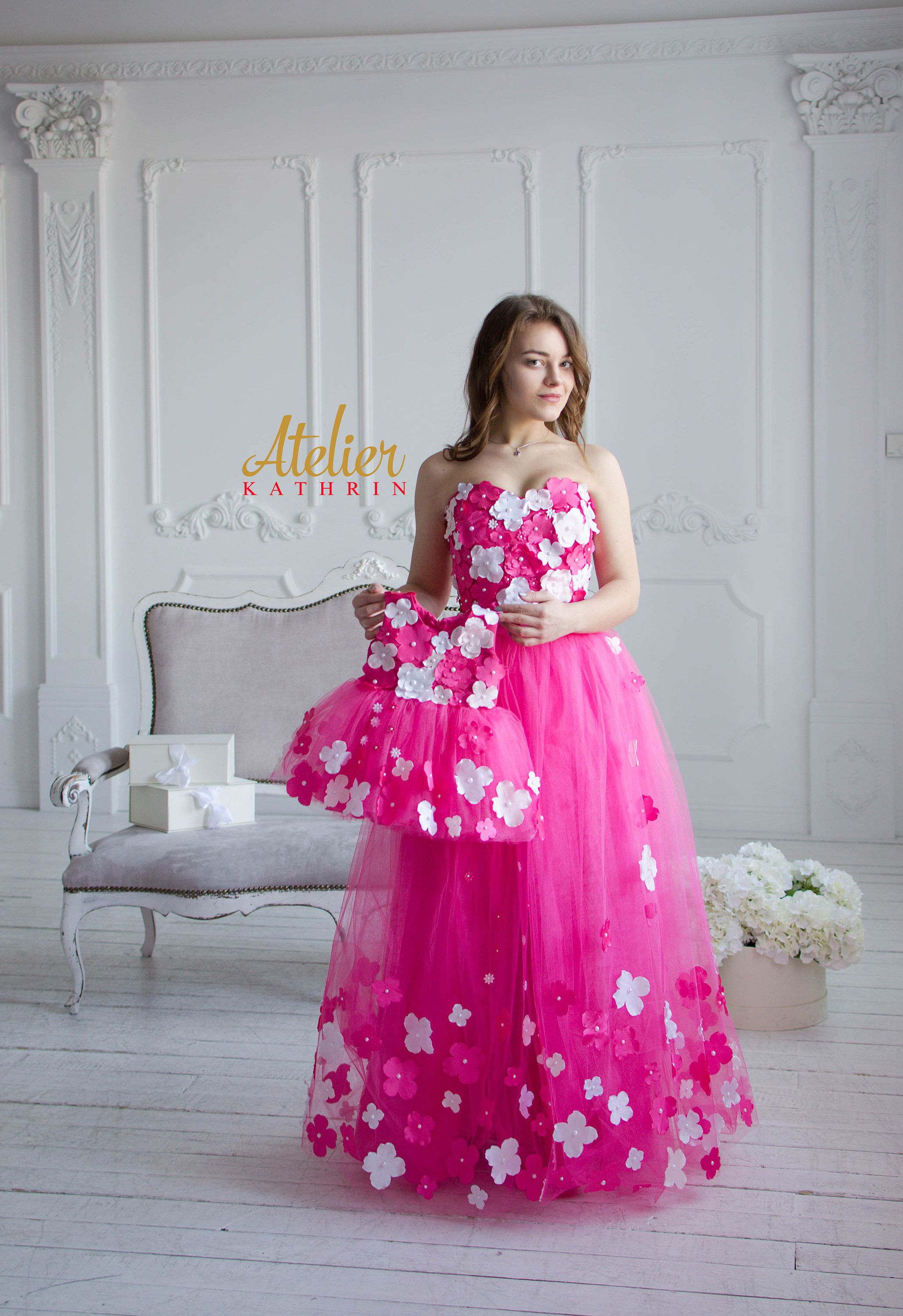 MOTHER daughter PARTNERLOOK flower girl evening dress wedding dress ...