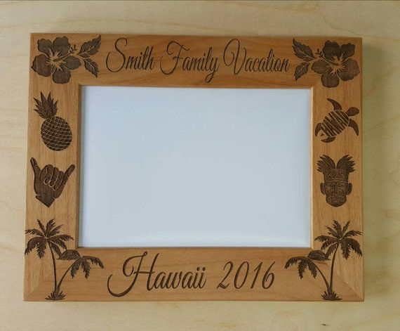Hawaii Vacation Picture Frame 5x7 Family Vacation Custom Laser