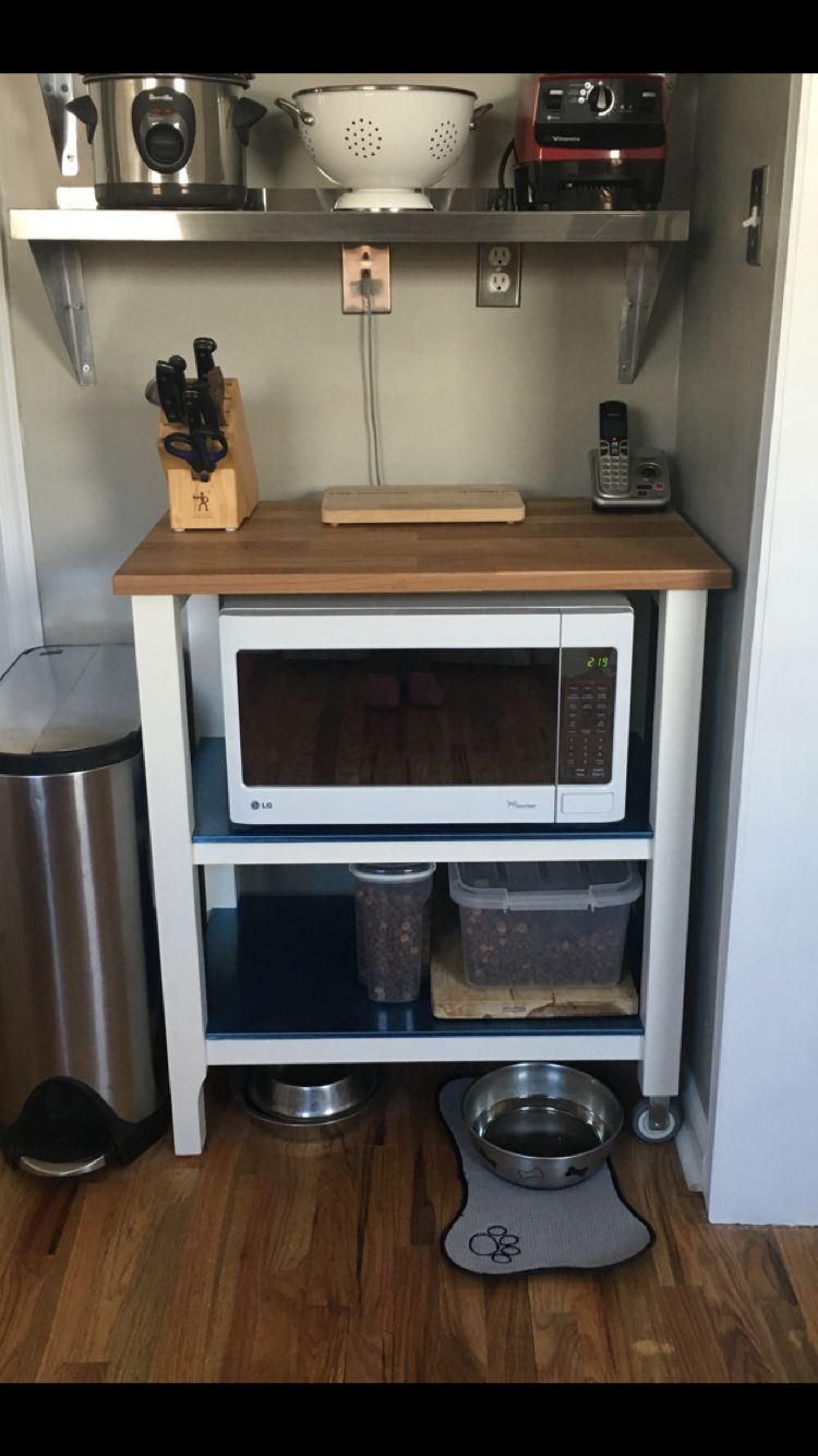 Using An IKEA Stenstorp Kitchen Cart For Microwave Storage.
