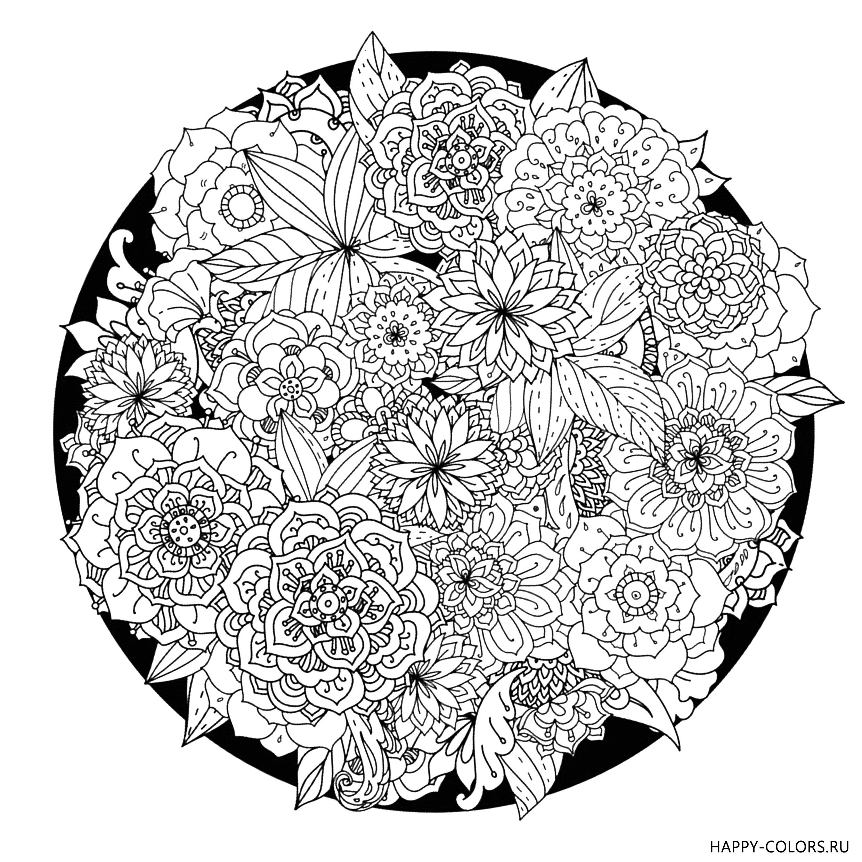 Раскраски Цветы Антистресс | Абстрактные раскраски ...