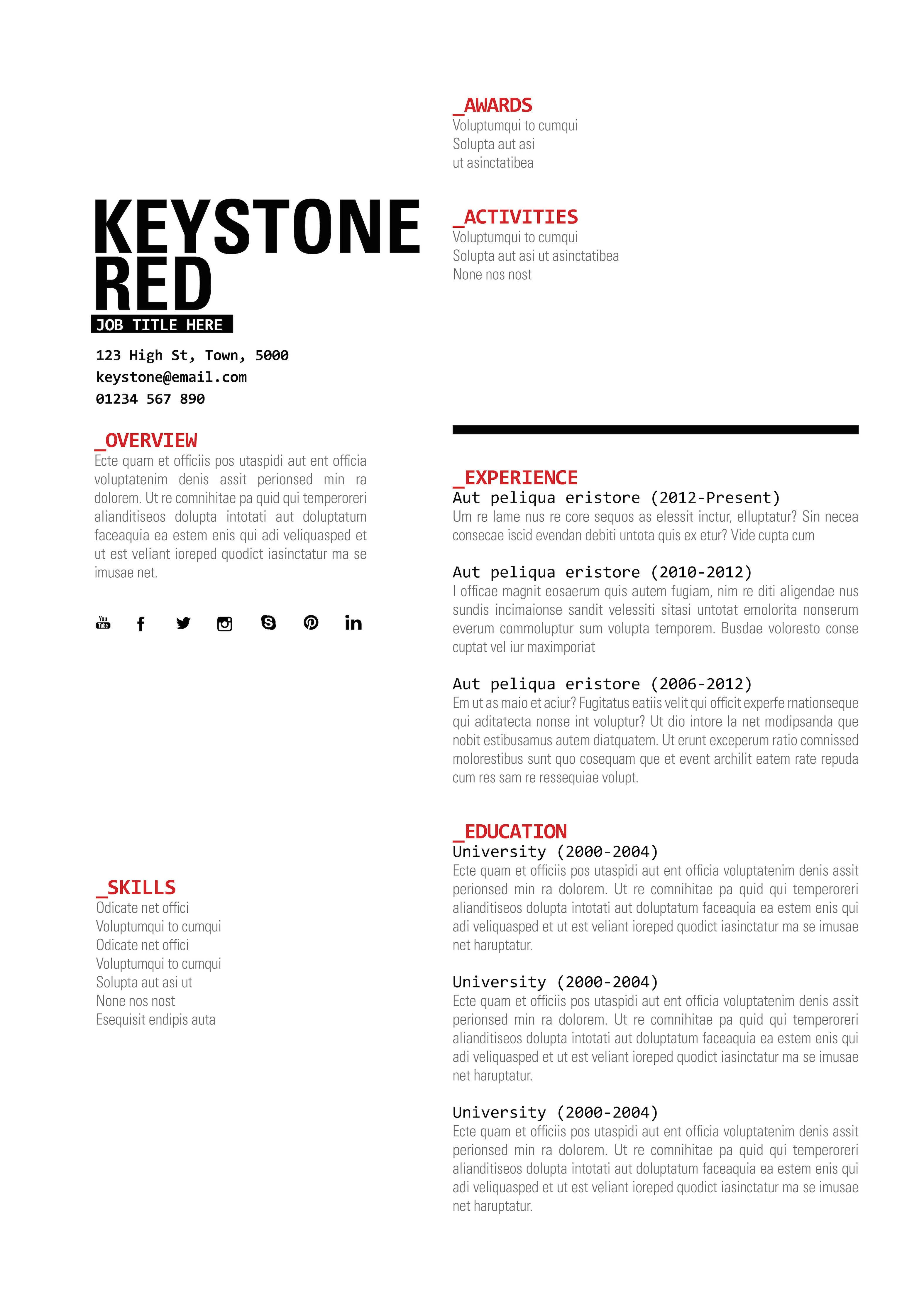 Keystone In Red Available In Three Colours At WwwTopnotchresumes