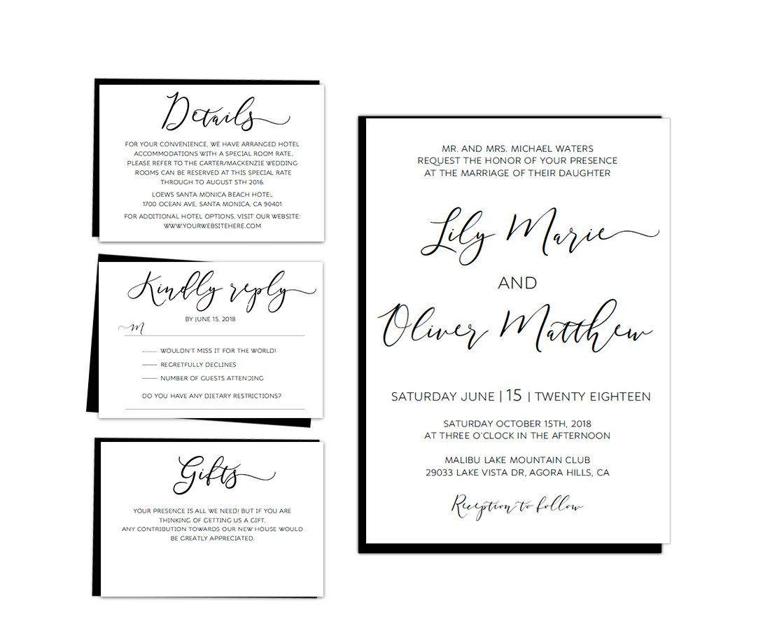 Black Loose Calligraphy Wedding Invitation Set Template Invitation - Wedding invitation templates: hotel accommodations template for wedding invitations