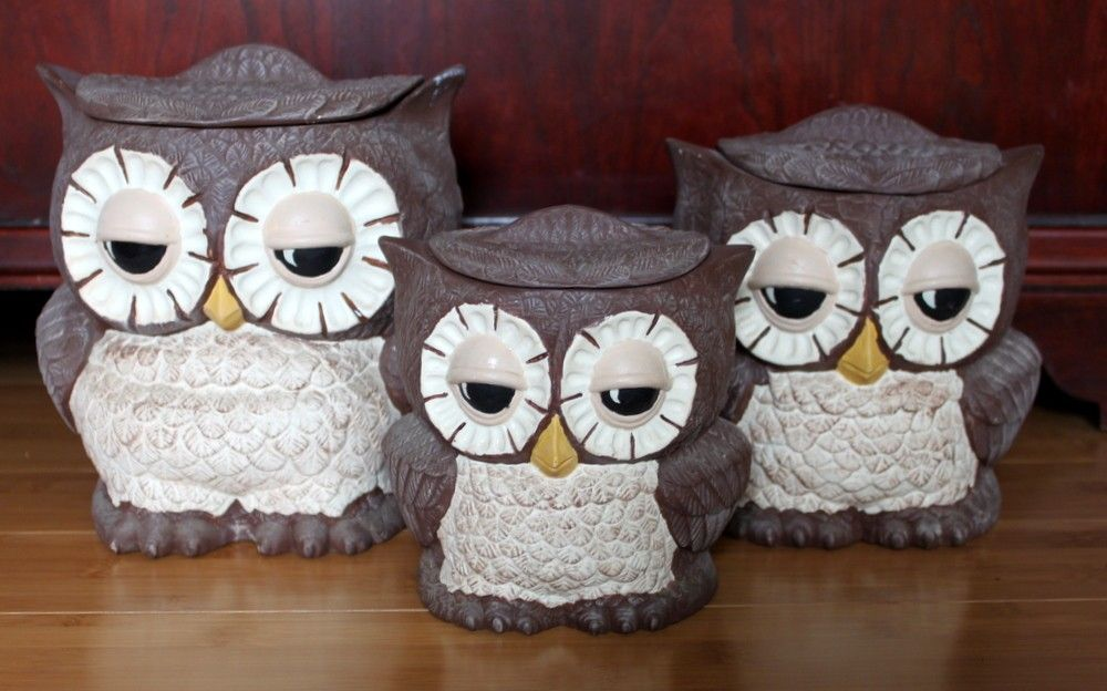 Awesome Owl Canisters Ebay   Owl Salt Pepper Shaker With Coffee Canister Set  Ceramic Japan Vintage ...   I Give A Hoot   Pinterest   Coffee Canister