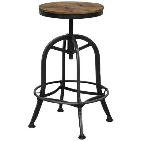 Beautiful Akron Collection Reclaimed Wood Adjustable Bar Stool   Style # W9556