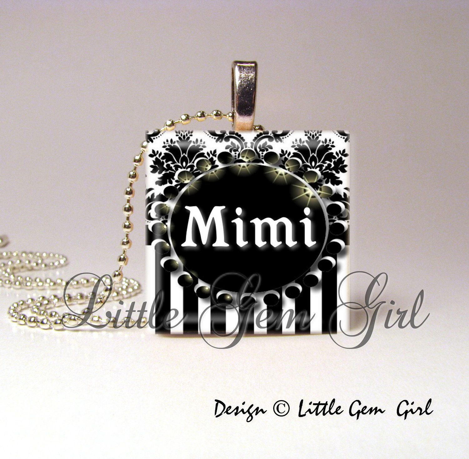 "Mimi Elegant Black and White Striped Damask 1""x1"" (one in square) Wood Tile Pendant (ball chain sold separately). $6.95, via Etsy."