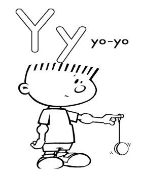 Y For Children Playing Yoyo Coloring Pages Alphabet Coloring