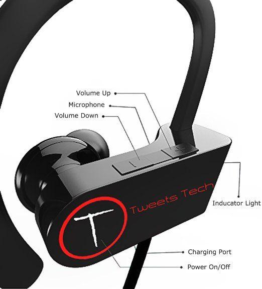 Amazon Com Bluetooth Earbuds Tweets Tech Workout Running 4 1 Best Wireless Sports Earphones Sweat Proof Noise Sport Earphones Sweat Proof Wireless Headphones