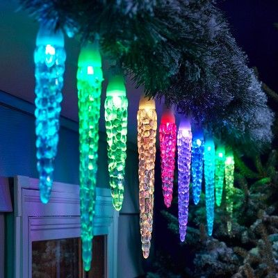 Philips 20ct Christmas LED 16 Function Molded Icicle Lights Color